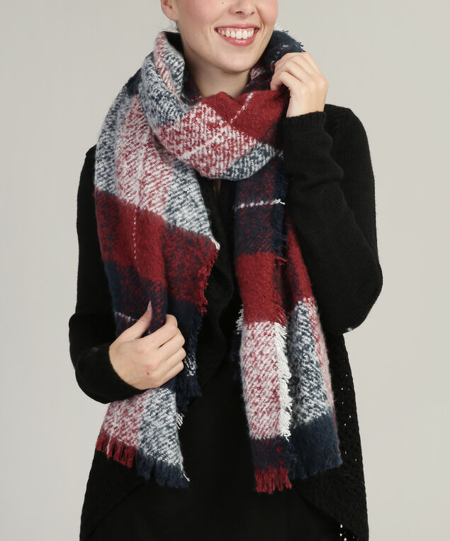 multi-check blanket scarf, CRANBERRY/NAVY, hi-res