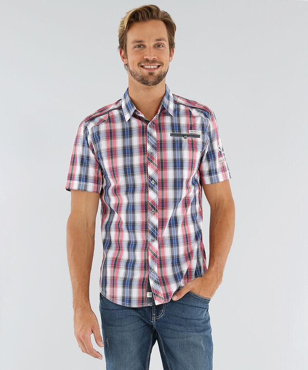 woven shirt with one pocket, RED/BLUE, hi-res
