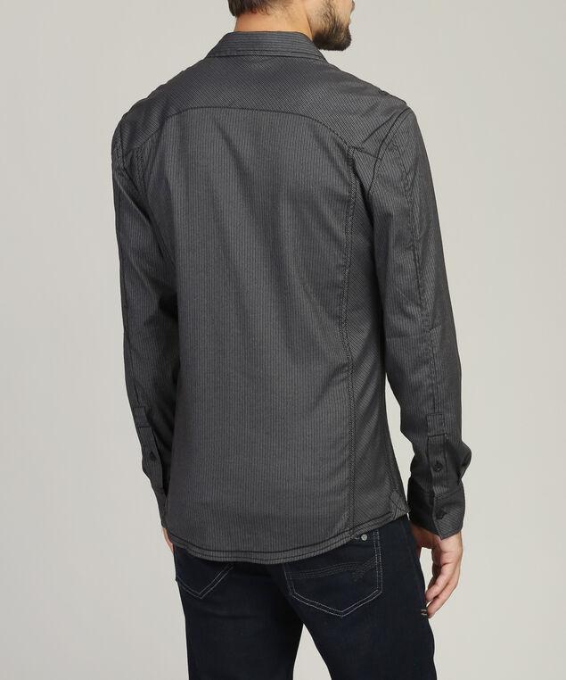 stripe shirt with pocket, BLACK, hi-res