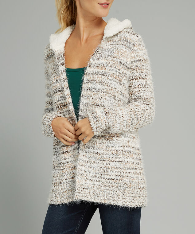 hooded cardigan - wb, NATURAL, hi-res