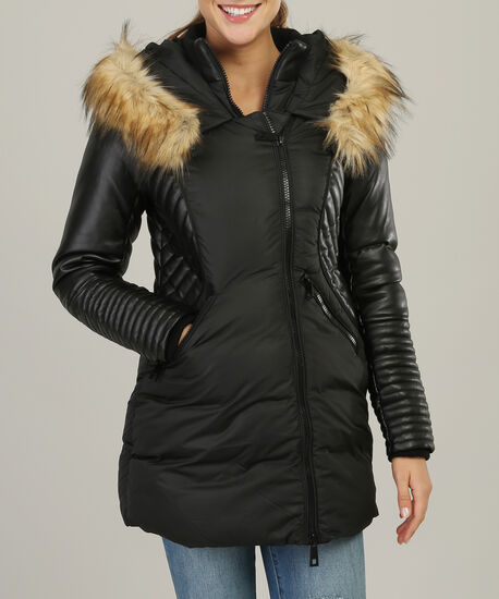 faux fur hood parka with contrast sleeve - wb, BLACK, hi-res
