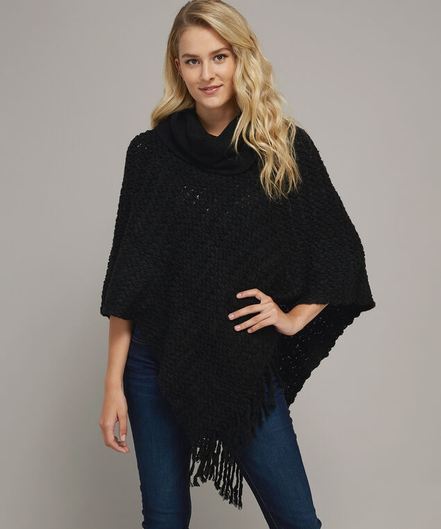 fringe tassel poncho with cowl neck - wb, BLACK, hi-res