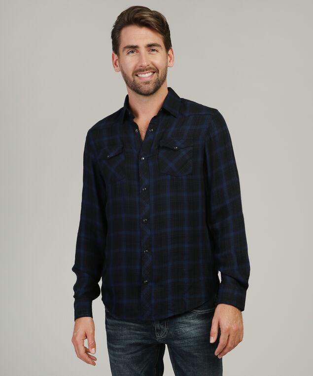plaid woven shirt - wb, INDIGO, hi-res