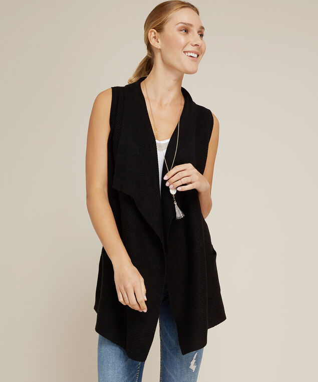 sweater vest with pockets - wb, BLACK, hi-res