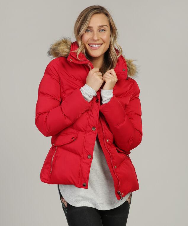 fur lined hood puffer parka - wb, RED, hi-res