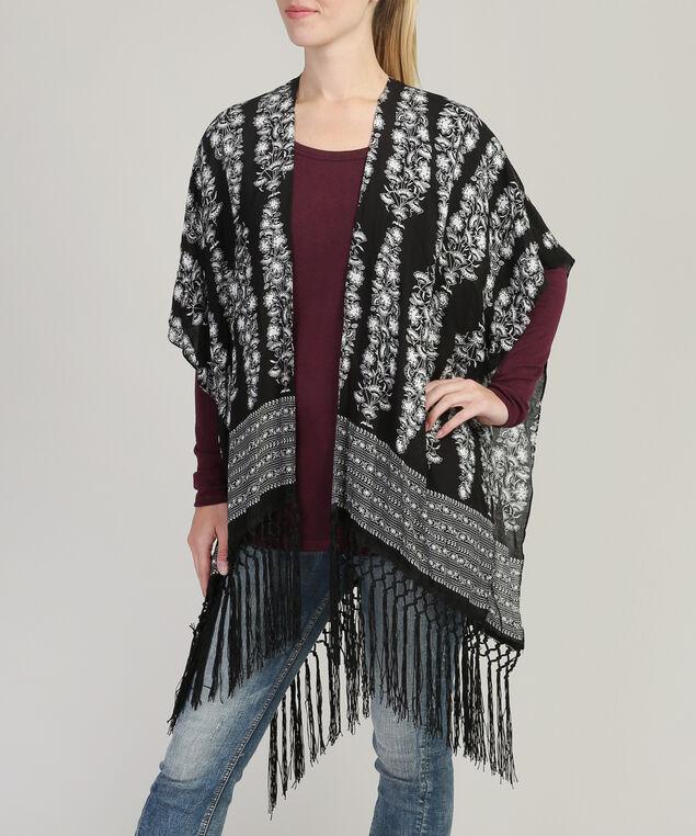 floral fringe kimono, BLACK/WHITE, hi-res