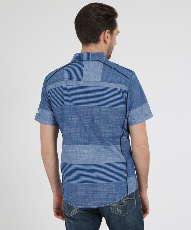 striped short sleeve shirt, BLUE, hi-res