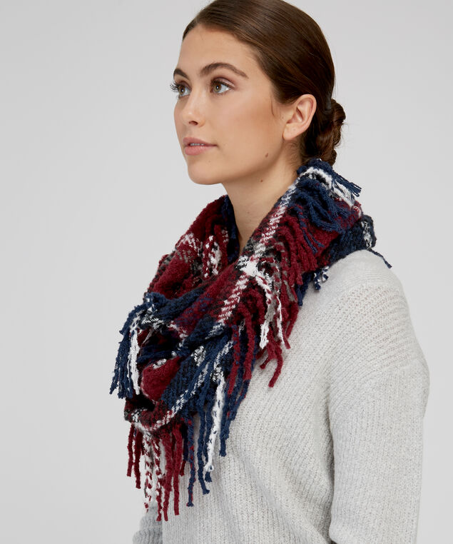 plaid infinity scarf, NAVY/BURGUNDY, hi-res