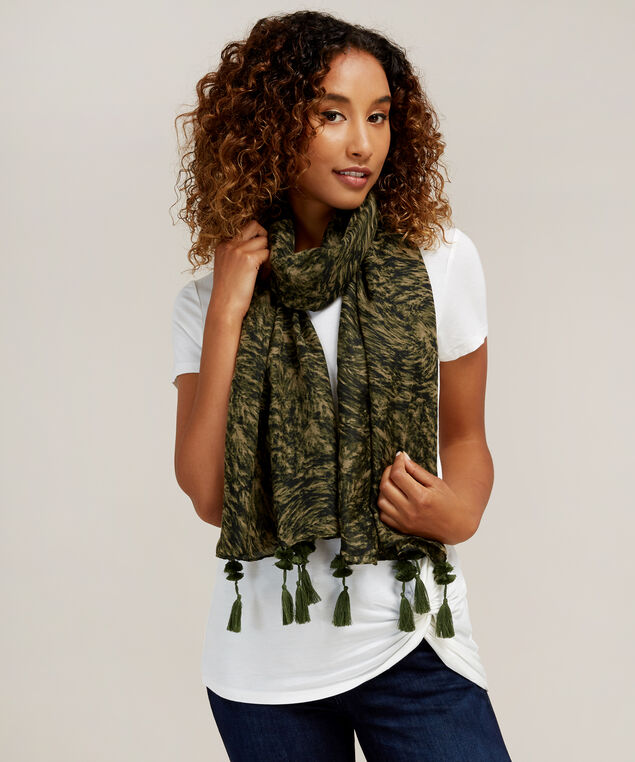 abstract camo scarf, OLIVE, hi-res