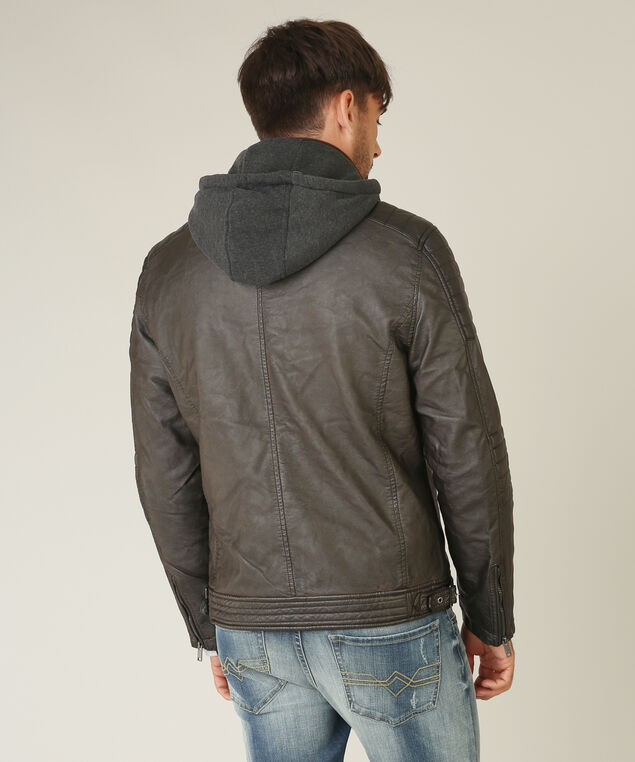 vegan leather jacket with hood, BROWN, hi-res