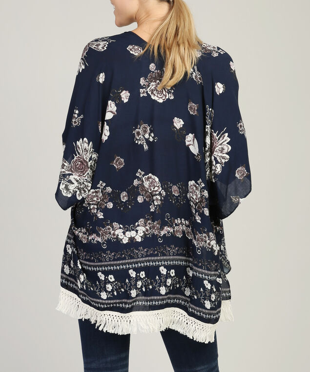 all over floral kimono, NAVY, hi-res