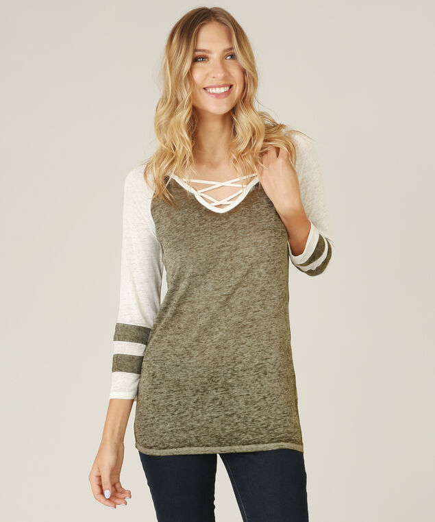 burnout tee with front strap detail - wb, OLIVE, hi-res