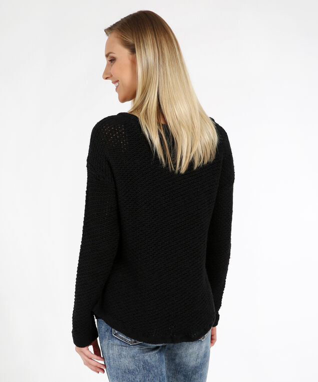 front lace up sweater - wb, BLACK, hi-res