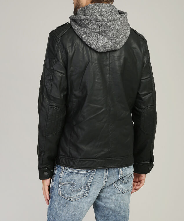 vegan leather jacket with knit hood, BLACK, hi-res