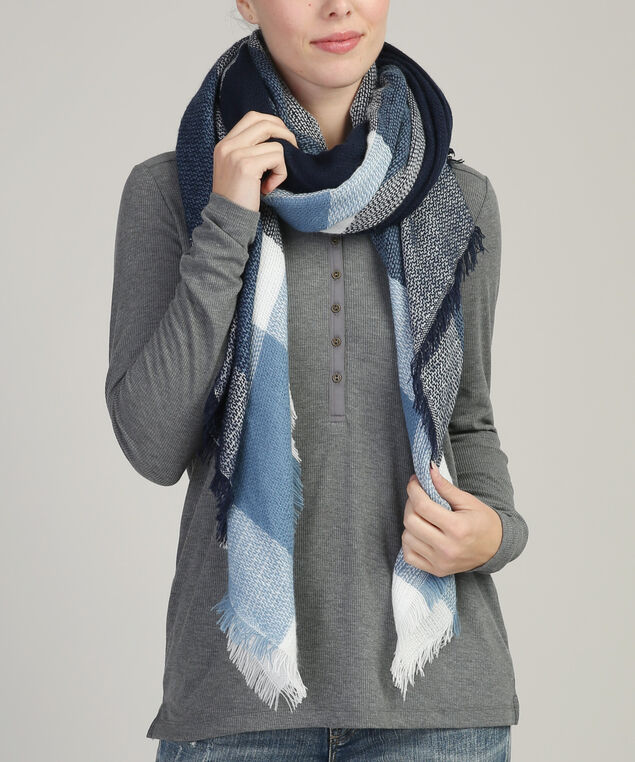 wide stripe scarf with fringe, NAVY COMBO, hi-res