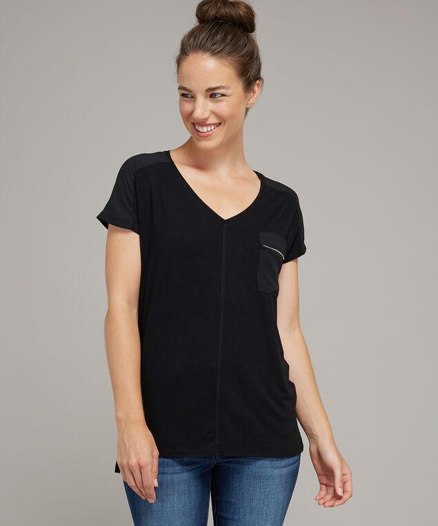 v neck with zipper pocket - wb, BLACK, hi-res