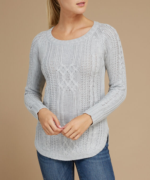 cable stitch popover sweater - wb, LIGHT GREY, hi-res