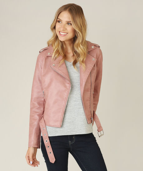 vegan leather jacket - wb, MAUVE, hi-res