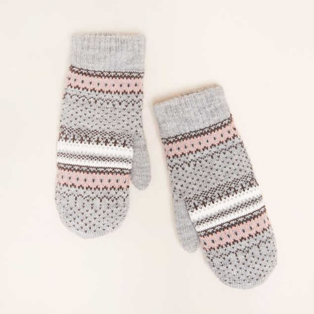 fairisle mittens, LIGHT GREY/BLUSH, hi-res