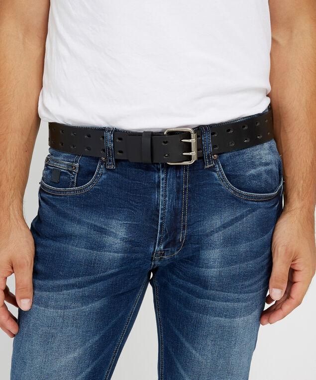 mens double prong belt, BLACK, hi-res