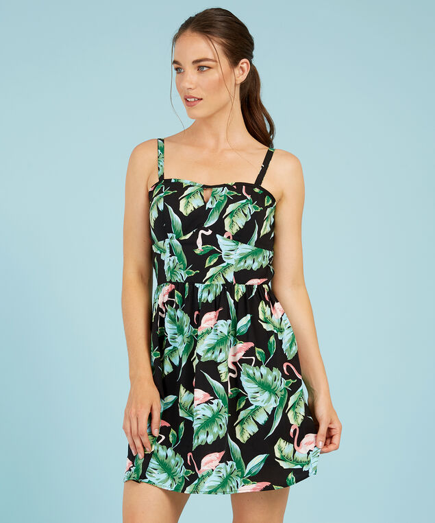bustier bodice dress - wb, BLACK/FLAMINGO, hi-res