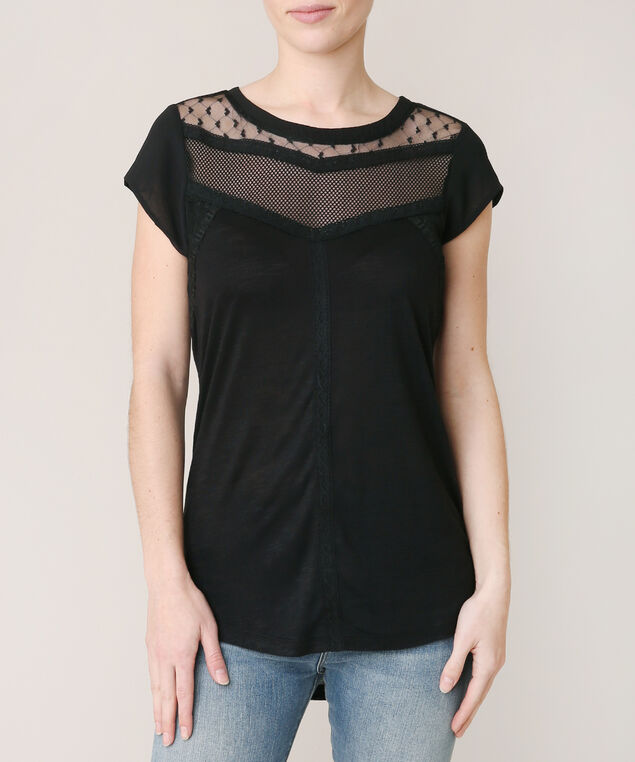 mesh and lace yoke tee, BLACK, hi-res
