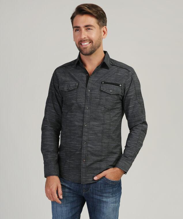 textured shirt with 2 pockets, BLACK, hi-res