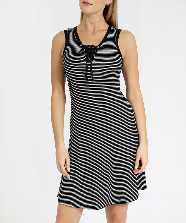striped lace up dress - wb, BLACK STRIPE, hi-res