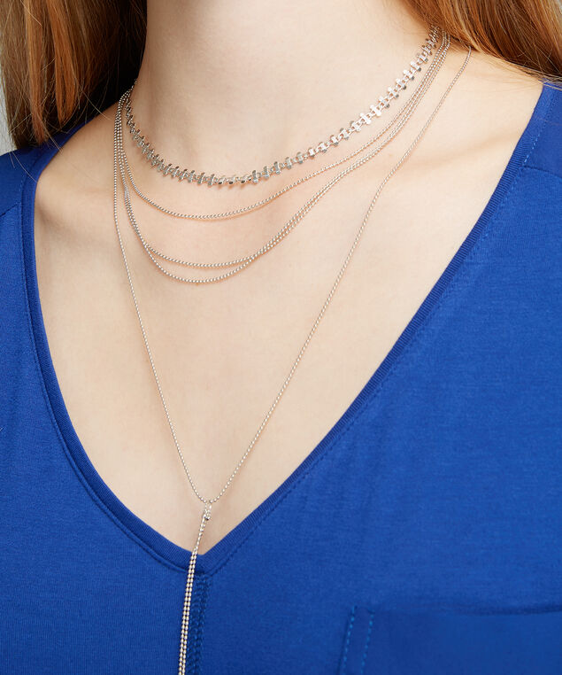 multi strand necklace with crystal detail, SILVER, hi-res