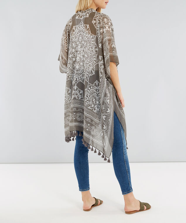 long madala print kimono, TAUPE, hi-res