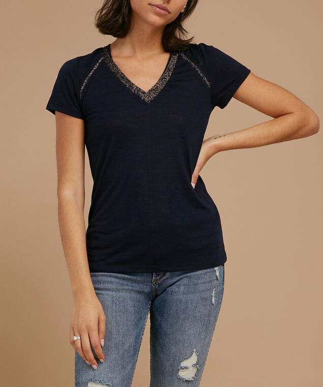 tee with metallic trims - wb, NAVY BLUE, hi-res
