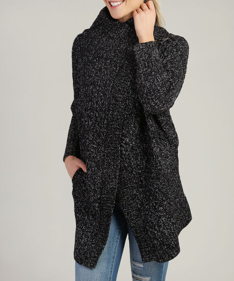 long cable cardi with buckle, BLK/WHT, hi-res