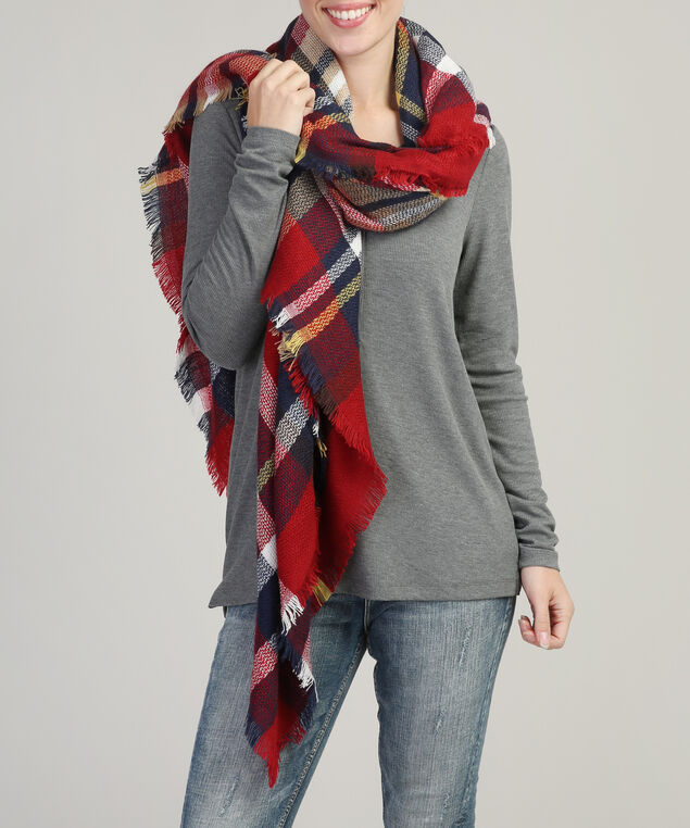 classic block plaid blanket scarf, RED/NAVY, hi-res