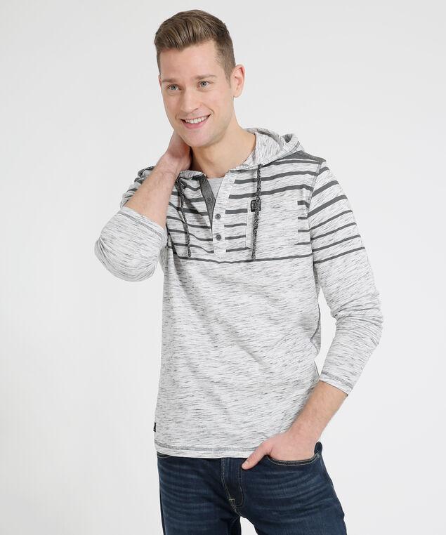 striped hooded henley, ECRU/BLACK, hi-res