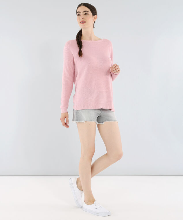 3/4 sleeve knotted back sweater - wb, PINK, hi-res