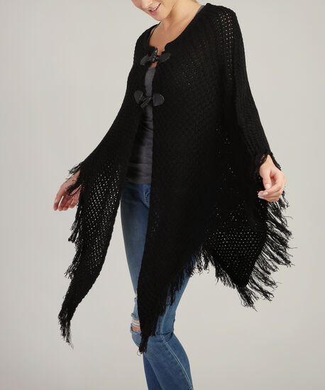 sweater poncho with toggle - wb, BLACK, hi-res
