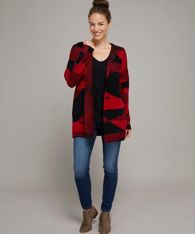 abstract jacquard cardigan - wb, RED/BLACK, hi-res
