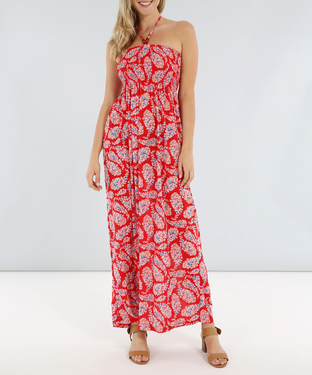 tie neck printed maxi - wb, RED, hi-res