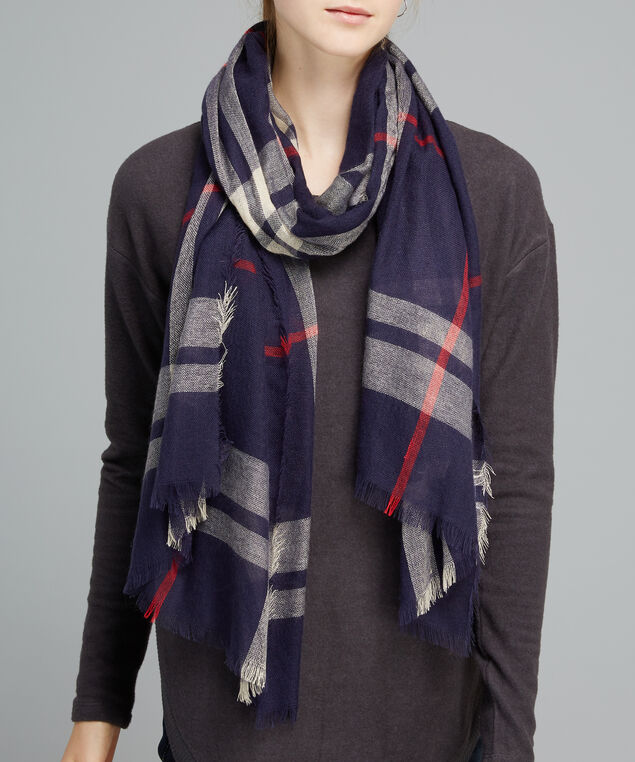 oblong navy plaid scarf, NVY PLAID, hi-res
