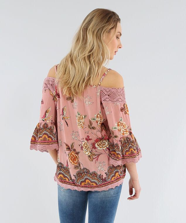 cold shoulder top with crochet trim - wb, ROSE, hi-res