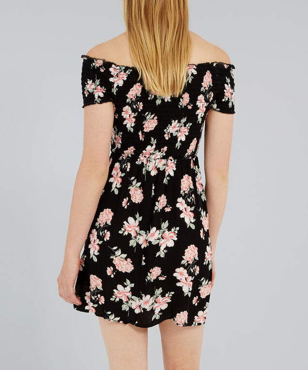off shoulder dress - wb, PEONY FLORAL, hi-res