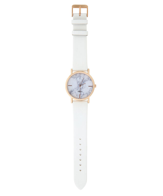 marble print watch, WHITE, hi-res