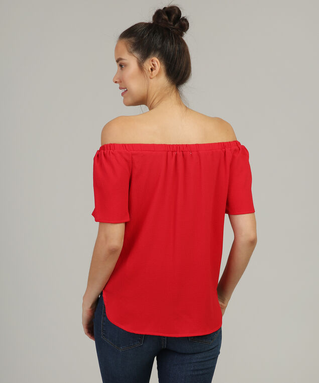 metal detail keyhole off shoulder top, RED, hi-res