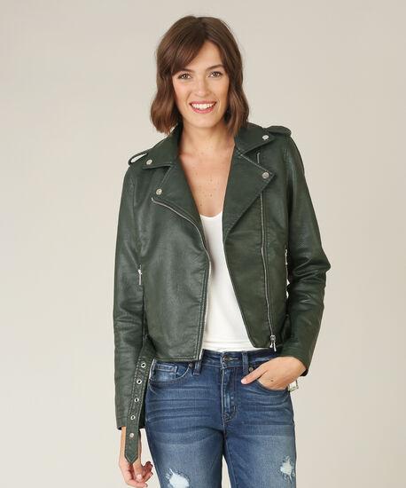 vegan leather jacket - wb, HUNTER GREEN, hi-res