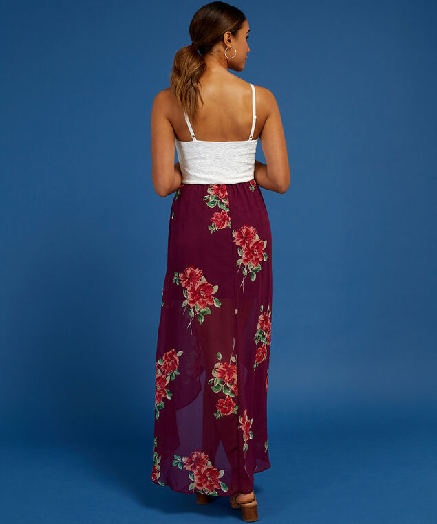 lace bodice ruffle skirt dress, BURGUNDY FLORAL, hi-res