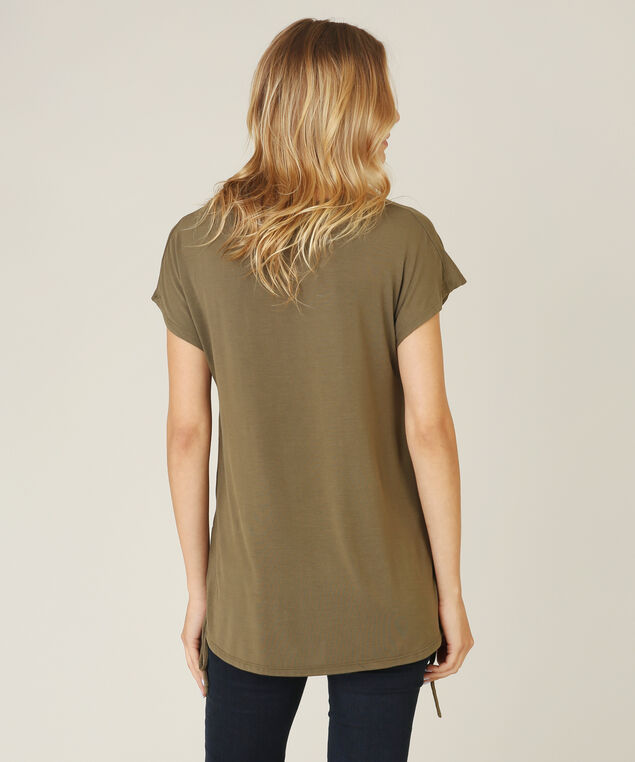 dolman sleeve side lace up tee - wb, KHAKI, hi-res