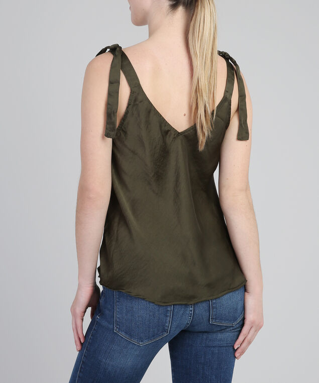 hammered satin bow cami - wb, OLIVE, hi-res