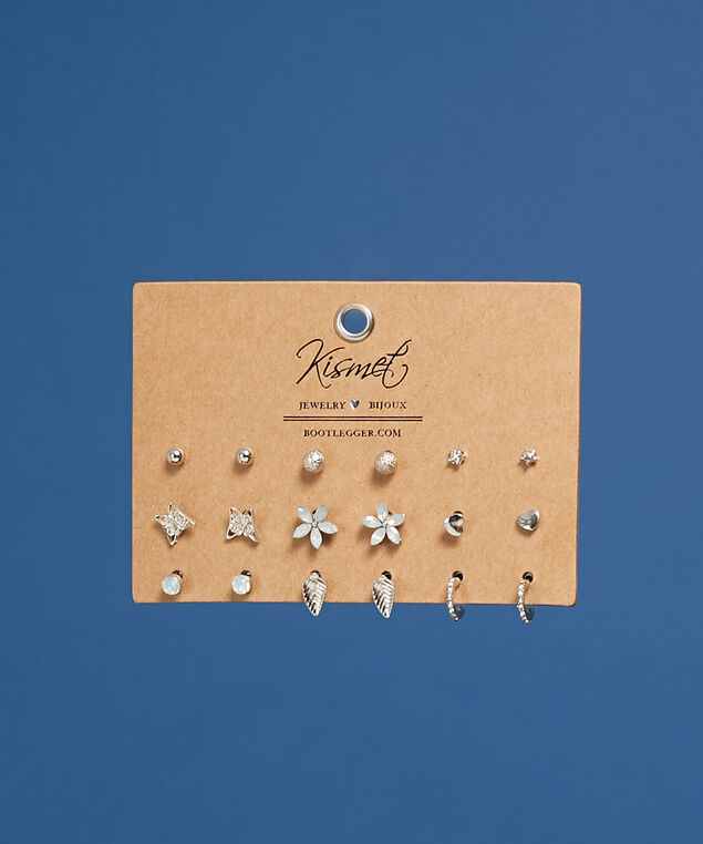 9 pack of studded earrings, SILVER, hi-res