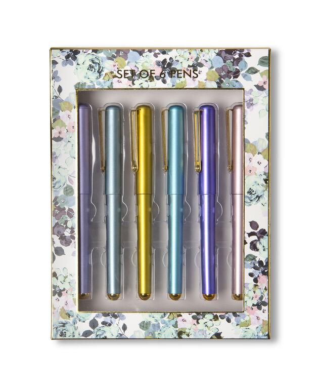 set of 6 pens - wb, FLORAL, hi-res