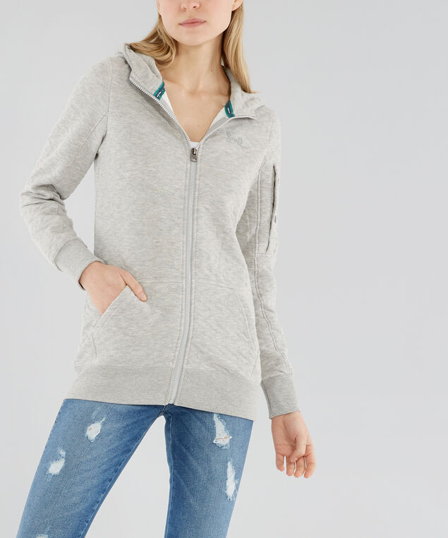 zip up chevron quilted hoodie - wb , HEATHER GREY, hi-res